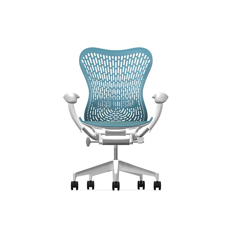 Herman Miller Mirra2 - Luxury - Studio White H-Alloy Dark Turquoise - TriFlex