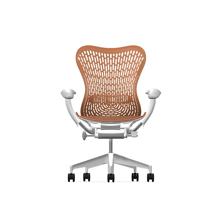 Herman Miller Mirra2 - Luxury - Studio White H-Alloy Urban Orange - TriFlex